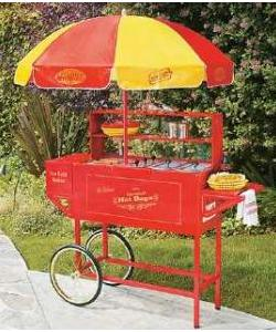 Nostalgia Electrics, HDC-701, Carnival Style, Hot Dog Hamburger Cart, 9 Roller Cooker, Bun Warm & Steam, Ice Beverage Cooler, Steel, Umbrella PVC Cover