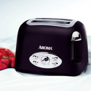 Aroma, ATS-272MB, 2 Slice, Matte Black, Toaster, Reheat, defrost, bagel, and cancel, functions, Extra wide slots, for a variety of bread, Remove crumb tray