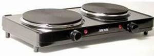 Aroma AHP-312, Dual Range,, Hot Plate, Durable cast iron, 6.5 inch ,and 7.5 inch, heating elements, Professional steel body, ON indicator light, HML Temps