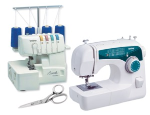 Brother XL2600i Consumer Reports 1Step Buttonhole Sewing Machine PLUS Brother R1134D 3 & 4 Thread FREEARM Serger Machine FREE $30 Italian Scissors