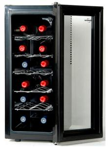 Koolatron WC12, 12 Bottle of Wine Cooler Cellar Storage, Slim Unit for Counter Tops, tempered glass door, adjustable temperature