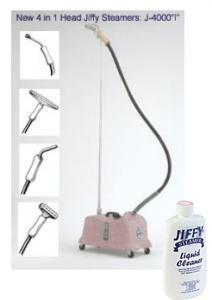 Jiffy PINK Heavy Duty Model J-4000i Commercial All-purpose Steamer Cleaner with 4 Changeable Steam Heads and 5.5 Foot Hose Attachment, Jiffy PINK J-4000i FREE Ship &amp; Cleaner, Commercial Fabric Steamer J4000i 4Changeable Heads, 1&quot; Brush, 6&quot; Metal, 9&quot; Pipe, 12&quot; Carpet, 1Handle, 5.5'HOSE