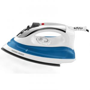 Black &amp; Decker IR0175W Steam Iron WHITE, 10&quot;W, Chrome Plate Accents, Non Stick Soleplate, Spray Mist, Variable Steam, Auto Off, Clear Water Tank, 3Lb
