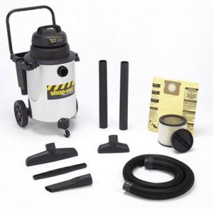 "Shop Vac 001-9621100 10 Gallon Wet/Dry Stainless Steel Utility Vac 10 Gallon, 6.5 HP, Large Rear Wheel Dolly With Transport, Hose Hanger, Disposable Bag, Tank Drain, Concentrator Nozzle, Crevice Tool, Elbow Grip, Squeegee, 8"" Nozzle, Accessory Basket"