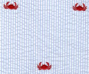 Fabric  Finders 15 Yard Bolt $11.33 A Yd Red Crab On Blue Seersucker 100% Cotton, 60""