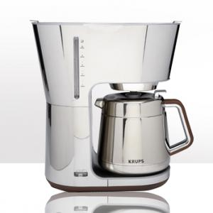 Krups KT600 Silver Art Collection 10 Cup Thermal Carafe Coffee Maker, Illuminated ON/OFF Switch, Automatic Shut Off, Water Level Indicator Window, Anti Drip Function