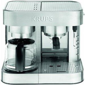 Krups XP604050 Stainless Steel Combi Espresso and Coffee Machine, 10 Cup Capacity,Electronic Control,15 Bar Italian Pump,Compatible with Ground Coffee
