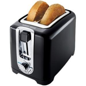 Black and Decker TR1256B 2 Slice Toaster, 850 Watts, LED Indicator, Function Indicator Light, Bagel Button, Frozen Button, Cancel Button, Cool Touch