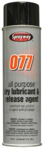 Sprayway SW077 All Purpose Industrial Dry Lubricant &amp; Release Agent, 20oz Cans 12/Case, Sprayway SW077 All Purpose Industrial Dry Lubricant &amp; Release Agent, 20oz Cans 12Pk, silicone spray stops sticking, retards corrosion, less squeeks