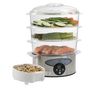 Master Chef MCSD3 - 3 Tier Stainless Steel Food Steamer, Expands from 3.1 - 9.6 Liter Capacity, 2 Hour Programmable Timer, Solid Steamer Basket