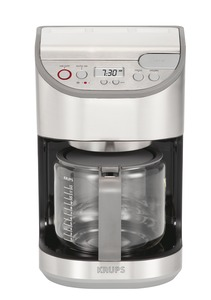 Krups KM611D50 12 Cup Programmable LCD Dahlstrm Coffee Maker, Brush Stainless Steel, Glass Carafe, Duo Filter,  AromaSelect, AutoLift Brew Basket