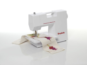 Simplicity, 881482001, 1, 12, Barbed Needle, Punch, Deluxe Felting Machine, with Foot Pedal, Removable Needles, For Felting, Silk, Ribbon, Crafts, Fleece, Fiber Collage,Needle Guard,materials Wool Roving Denim Silks Re pourpose Sweaters, suits,