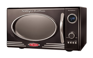 New Nostalgia Electrics RMO400BLK Retro Series 0.9-Cubic Foot Microwave Oven, Black