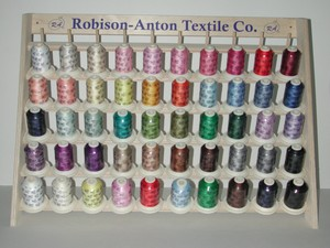 Robison Anton,8303-00-0KIT, Cotton Quilting, Sewing, &amp; Embroidery, Thread Kit, 50 Spools, of 400 Yard, RA Thread, with 50 Pin, Wood Rack