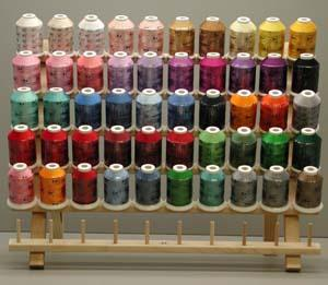 Robison Anton Kit, 50 Spools, x 1100 Yards, Rayon, Machine Embroidery, Thread, 40 Weight, Wood  Rack, FREE, Thread Color Conversion, & Truesizer Format Software