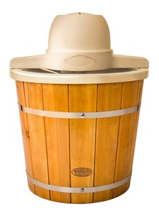 In Stock Nostalgia Electrics™ ICMP400WD 4-Quart Plastic Bucket with Wood Slats Electric Ice Cream Maker