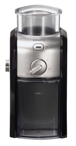 Krups, GVX2-12, Black & Metal, Burr Grinder, 8 Ounce Capacity, 17 Milling Settings, for 2 to 12 Cups of Coffee, 100W, 3 Pounds