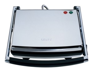Krups, FDE312-75, Chrome, Panini Maker, Universal Grill, Non Stick Cooking, Floating Hinged Top, Insulated Handle, Ready Light, Recipe Book, Upright Store